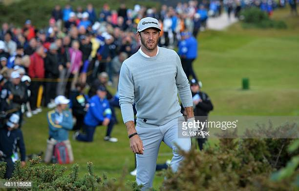 US golfer Dustin Johnson in the gorse on the 4th hole during his second round on day two of the 2015 British Open Golf Championship on The Old Course...