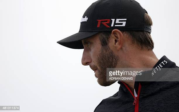 US golfer Dustin Johnson looks on from the 4th tee during his third round on day four of the 2015 British Open Golf Championship on The Old Course at...