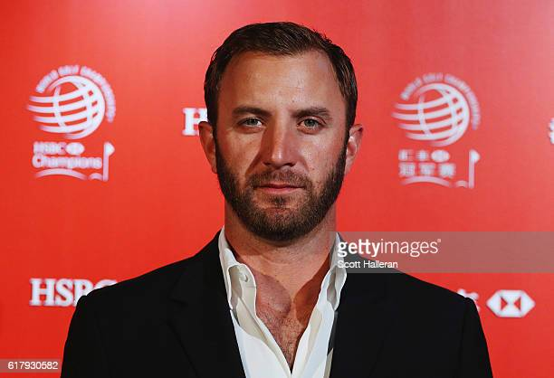 Golfer Dustin Johnson of the United States poses at the Himalayas Centre for a photocall prior to the start of the WGC HSBC Champions on October 25...