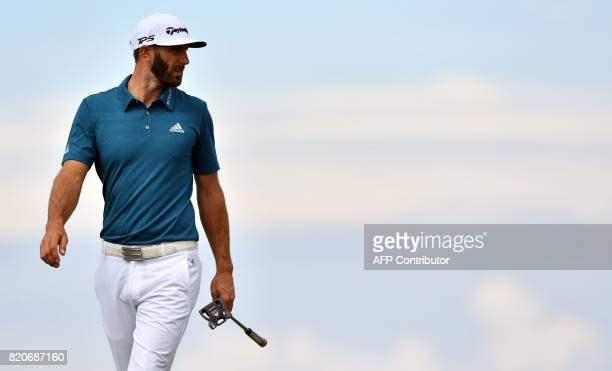 US golfer Dustin Johnson on the 9th green during his third round on day three of the Open Golf Championship at Royal Birkdale golf course near...