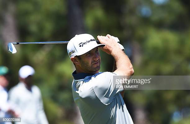 US golfer Dustin Johnson plays a shot during Round 3 of the 80th Masters Golf Tournament at the Augusta National Golf Club on April 9 in Augusta...