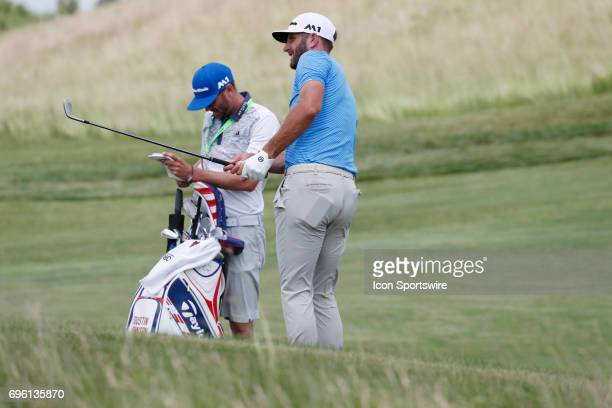 PGA golfer Dustin Johnson plays the 10th hole during the practice round for the 117th US Open on June 14 2017 at Erin Hills in Erin Wisconsin