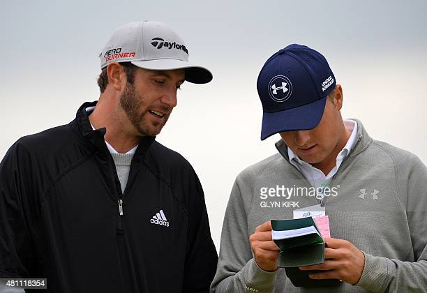 US golfer Dustin Johnson talks with US golfer Jordan Spieth on the 5th tee during their second round on day two of the 2015 British Open Golf...