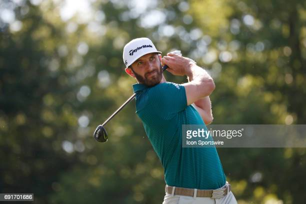 PGA golfer Dustin Johnson tees off on the 18th hole during the Memorial Tournament Second Round on June 02 2017 at Muirfield Village Golf Club in...