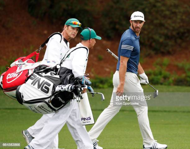 PGA golfer Dustin Johnson walks the 13th fairway during the first day of practice for the 2017 Masters Tournament on April 3 at Augusta National Golf...