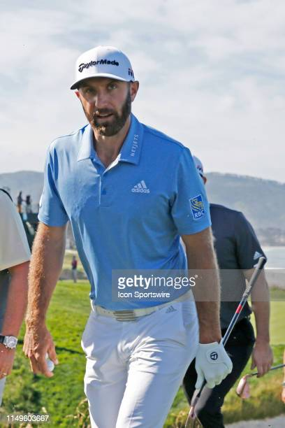 PGA golfer Dustin Johnson walks to the 10th tee during a practice round for the 2019 US Open on June 11 at Pebble Beach Golf Links in Pebble Beach CA