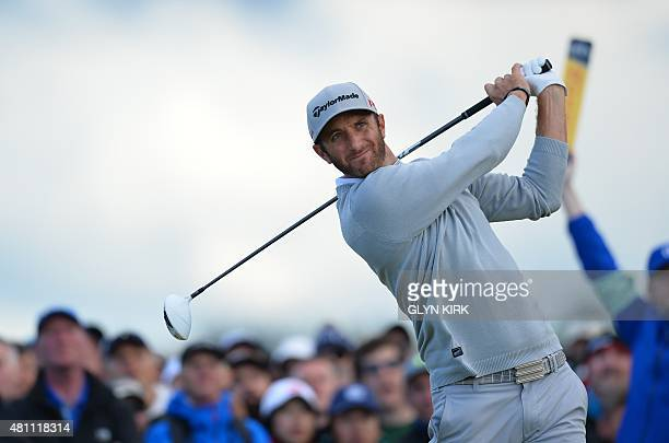US golfer Dustin Johnson watches his drive from the 4th tee during his second round on day two of the 2015 British Open Golf Championship on The Old...