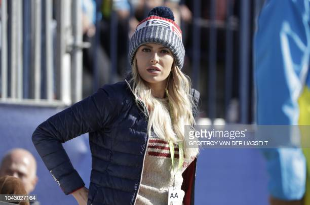 US golfer Dustin Johnson's wife US model Paulina Gretzky attends the second day of the 42nd Ryder Cup at Le Golf National Course at...