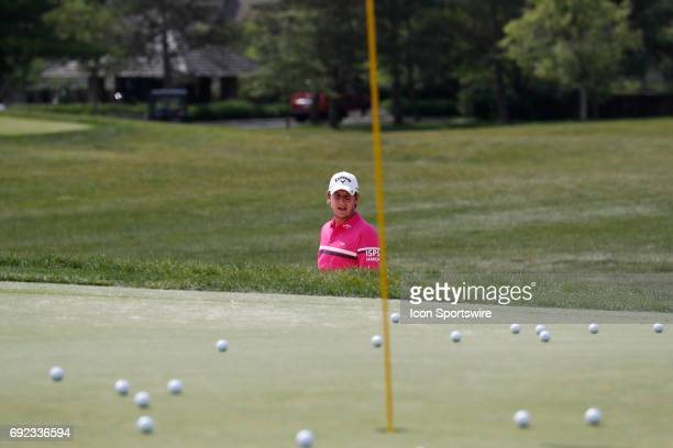 PGA golfer Emiliano Grillo warms up on the practice range during the Memorial Tournament Final Round on June 04 2017 at Muirfield Village Golf Club...