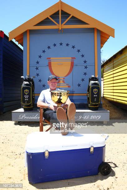 Golfer Ernie Els of South Africa poses during The Big Easy's BBQ at Brighton Beach Boxes on November 26, 2018 in Melbourne, Australia. Eels will be...