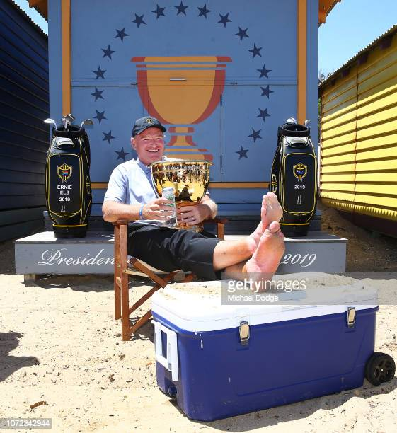 Golfer Ernie Els of South Africa poses during The Big Easy's BBQ at Brighton Beach Boxes on November 26 2018 in Melbourne Australia Eels will be...
