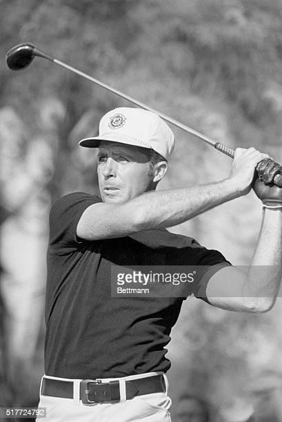 Golfer Gary Player swings his club during the 1972 PGA Championship at Oakland Hills, Birmingham, Michigan. | Location: Oakland Hills, Birmingham,...