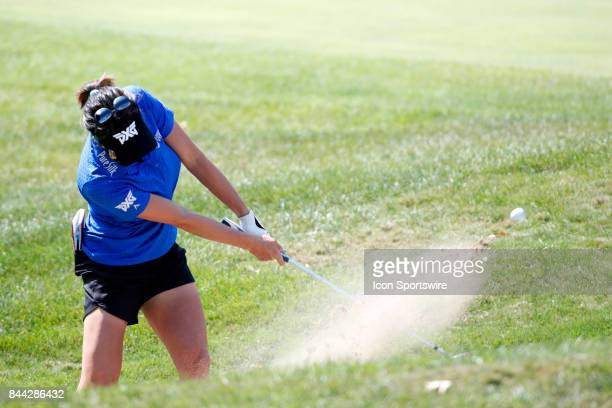 LPGA golfer Gerina Piller hits out of a sand trap on the 2nd hole during the second round of the Indy Women In Tech on September 8 2017 at the...