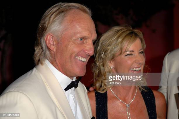 Golfer Greg Norman and Tennis Pro Chris Evert attend the Chris Evert/Raymond James Pro Celebrity tennis classic cocktail reception and silent auction...