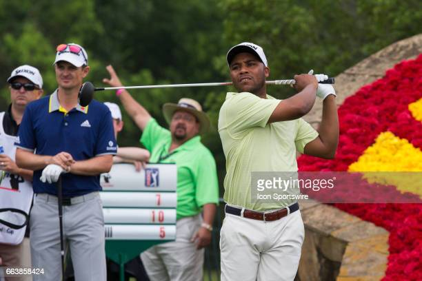PGA golfer Harold Varner III plays his shot from the 18th tee during Shell Houston Open on April 02 2017 at Golf Club of Houston in Humble TX