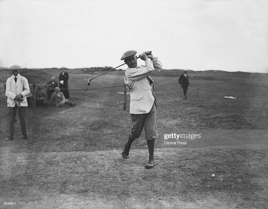 Golfer Harry Vardon (1870 - 1937) at the Open Championship at Deal, Kent.