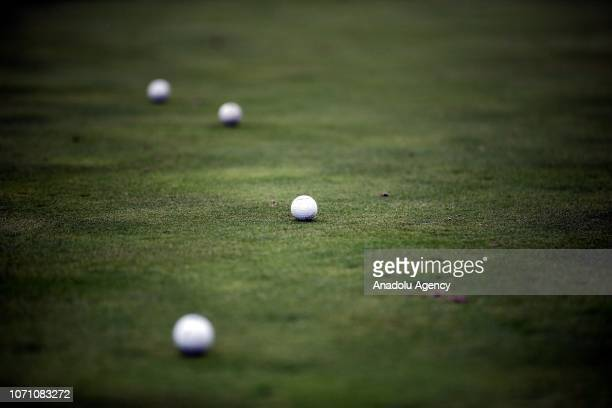 A golfer in action at a golf course in Belek Antalya on December 10 2018 Golf Tourism is a developing market for the Turkish tourism industry This...