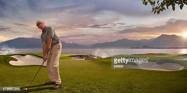 Golfer in Seaside Resort at Sunset