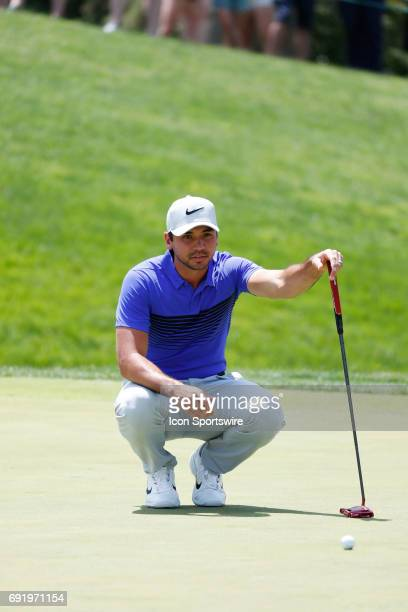 PGA golfer Jason Day lines up a putt on the 17th hole during the Memorial Tournament Third Round on June 03 2017 at Muirfield Village Golf Club in...