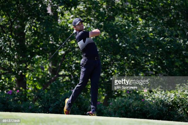 PGA golfer Jason Day tees off on the 14th hole during the first round of the Memorial Tournament on June 1 at Muirfield Village Golf Club in Dublin...