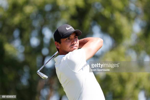 Golfer Jason Day tees off on the 2nd hole during the Memorial Tournament - Second Round on June 02, 2017 at Muirfield Village Golf Club in Dublin,...
