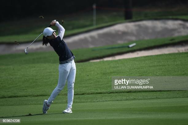 US golfer Jennifer Song hits a shot during the Honda LPGA golf tournament at the Siam Country Club in the coastal Thai province of Chonburi on...