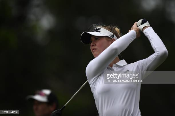 US golfer Jessica Korda hits a shot during the Honda LPGA golf tournament at the Siam Country Club in the coastal Thai province of Chonburi on...