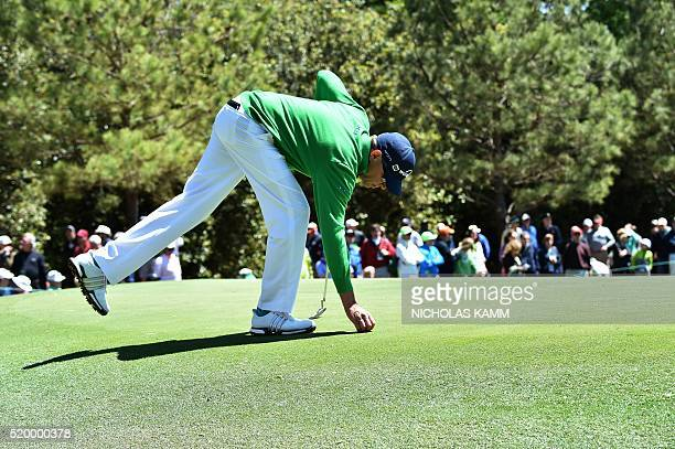 US golfer Jimmy Walker lines up a shot on the 1st green during Round 3 of the 80th Masters Golf Tournament at the Augusta National Golf Club on April...