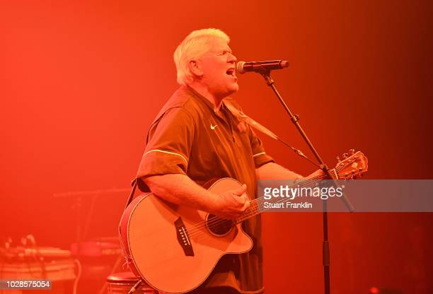 Golfer John Daly of USA plays some of his music after the second round of the Omega European Masters at CranssurSierre Golf Club on September 7 2018...