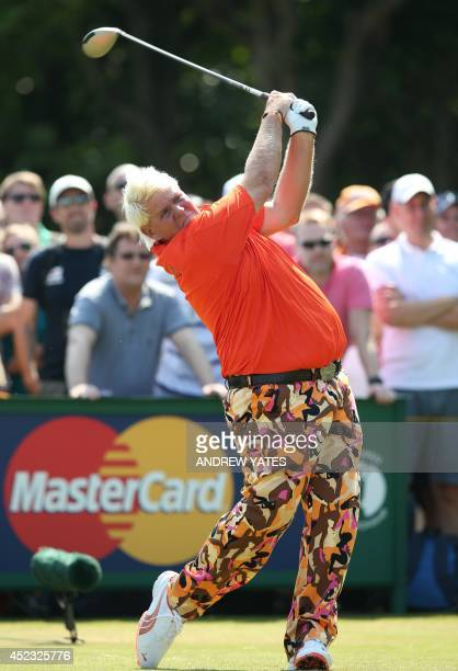 US golfer John Daly plays from the 5th tee during his second round on day two of the 2014 British Open Golf Championship at Royal Liverpool Golf...