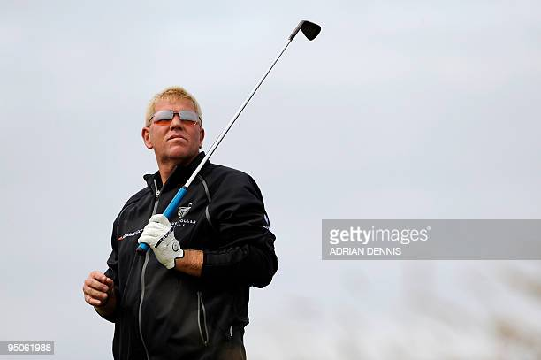US golfer John Daly stands on the 11th tee on the second day of the 138th British Open Championship at Turnberry Golf Course in south west Scotland...
