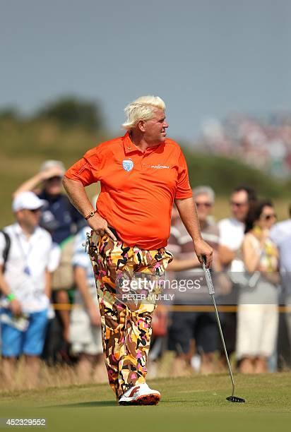 US golfer John Daly waits on the 5th green during his second round on day two of the 2014 British Open Golf Championship at Royal Liverpool Golf...