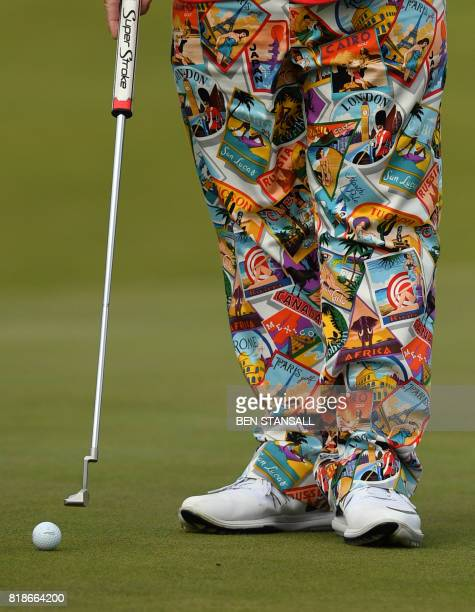 US golfer John Daly wearing colourful trousers on the 8th green during a practice round at Royal Birkdale golf course near Southport in north west...