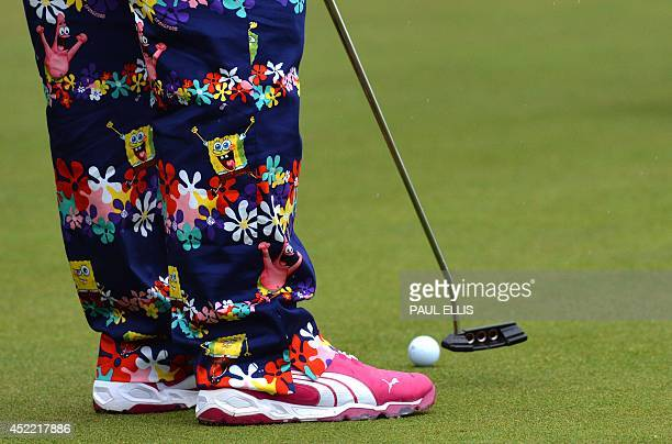 US golfer John Daly wearing his unusual colourful trousers on the practice green at Royal Liverpool Golf Course in Hoylake north west England on July...