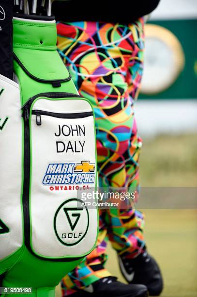 US golfer John Daly's bag is pictured on the 7th tee during his opening round 74 on the first day of the Open Golf Championship at Royal Birkdale...