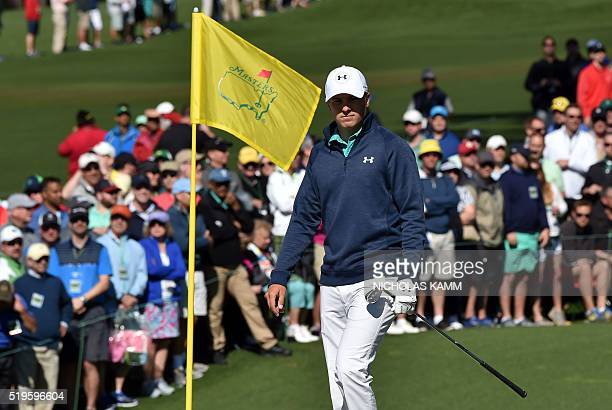 US golfer Jordan Spieth lines up a putt on the 2nd hole during Round 1 of the 80th Masters Golf Tournament at the Augusta National Golf Club on April...