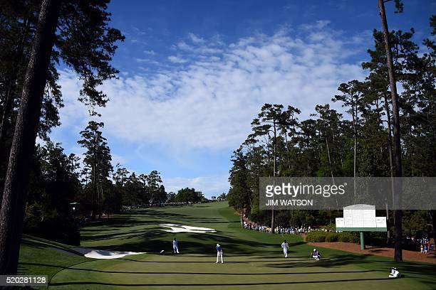 US golfer Jordan Spieth putts on the 10th green during Round 4 of the 80th Masters Golf Tournament at the Augusta National Golf Club on April 10 in...
