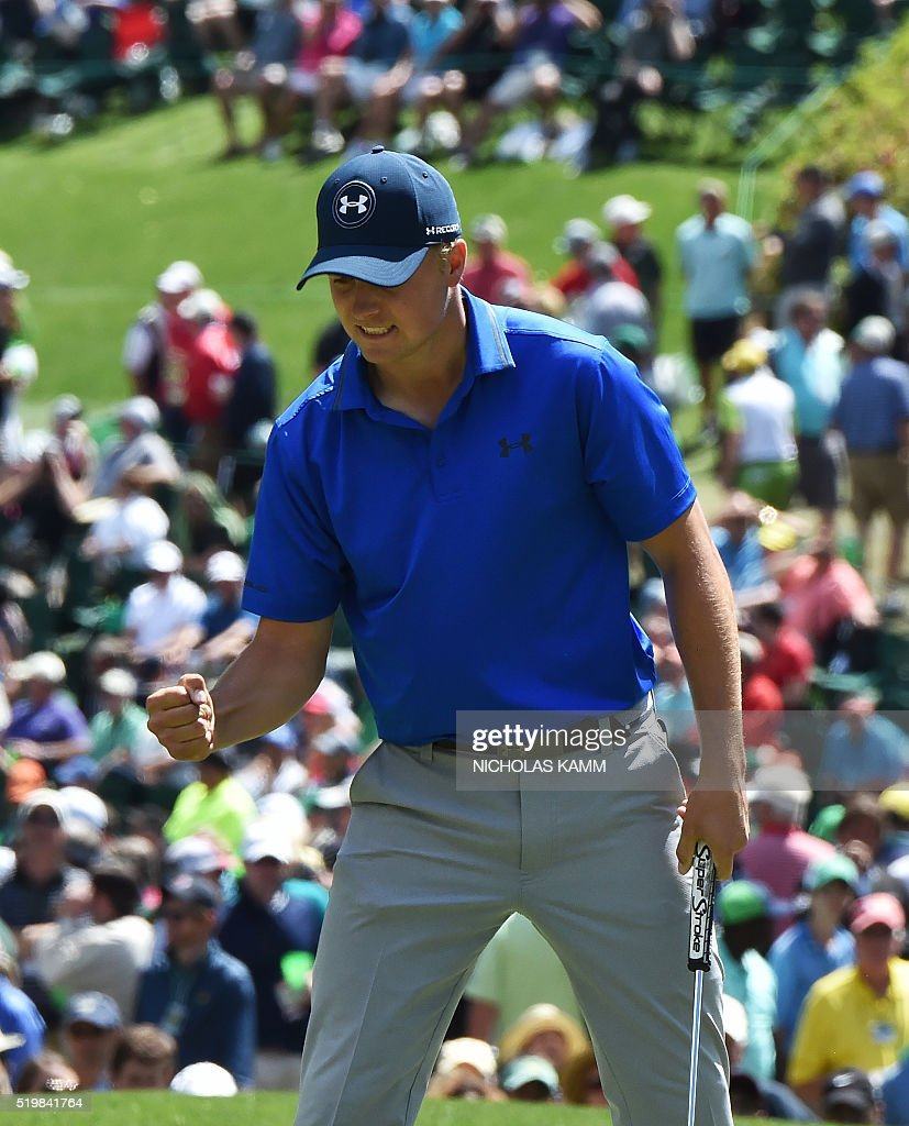 US golfer Jordan Spieth reacts after putting on the 7th hole during Round 2 of the 80th Masters Golf Tournament at the Augusta National Golf Club on April 8, 2016, in Augusta, Georgia. / AFP / Nicholas Kamm