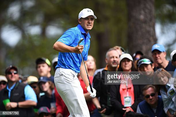 US golfer Jordan Spieth reacts after teeing off on the 4th hole during Round 4 of the 80th Masters Golf Tournament at the Augusta National Golf Club...