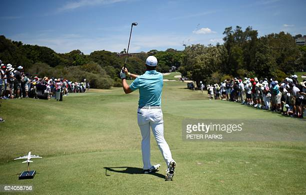 TOPSHOT US golfer Jordan Spieth tees off at the fifth hole on day two of the Australian Open golf tournament at the Royal Sydney Golf Club in Sydney...