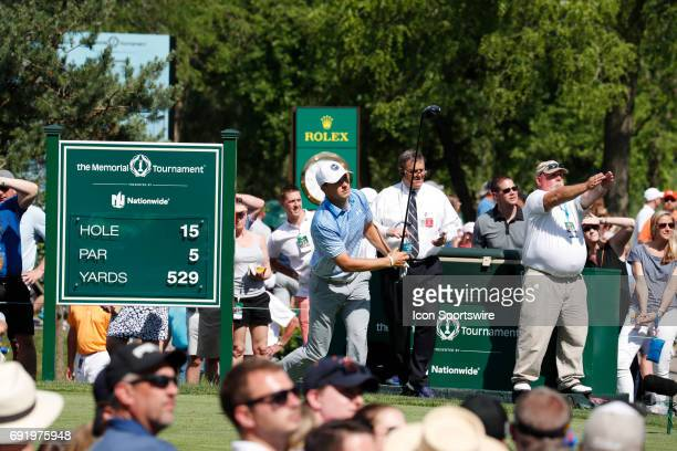 PGA golfer Jordan Spieth tees off on the 15th hole during the Memorial Tournament Third Round on June 03 2017 at Muirfield Village Golf Club in...