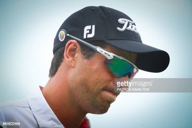 Golfer Jordan Zunic of Australia reacts during the final round of the Australian PGA Championship golf tournament at the Royal Pines Resort on the...