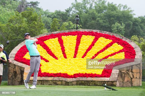 PGA golfer JT Poston plays his shot from the 18th tee during Shell Houston Open on April 02 2017 at Golf Club of Houston in Humble TX