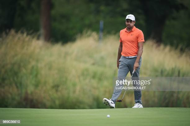 US golfer Julian Suri competes in the HNA Open de France as part of the European Tour 2018 at the SaintQuentinenYvelines national golf course in...