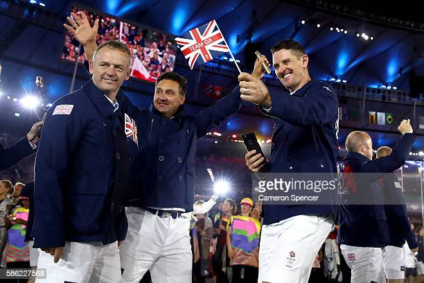 Golfer Justin Rose and fellow Great Britain team members take part in the Opening Ceremony of the Rio 2016 Olympic Games at Maracana Stadium on...