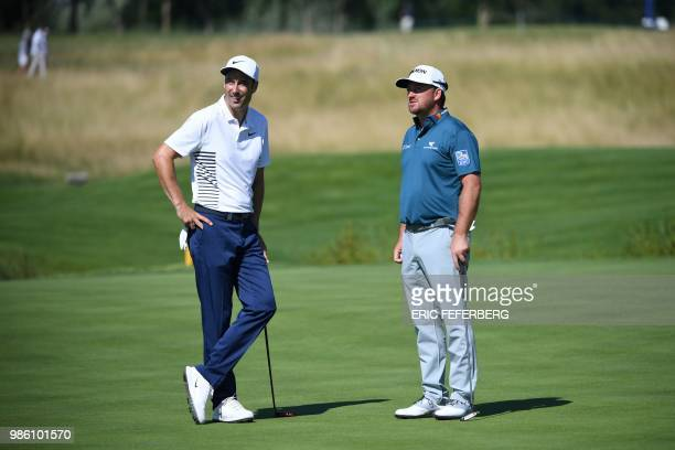 US golfer Justin Thomas and British golfer Ross Fisher compete in the HNA Open de France as part of the European Tour 2018 at the...