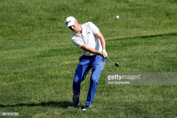 PGA golfer Justin Thomas chips on the 15th hole during the Memorial Tournament Third Round on June 03 2017 at Muirfield Village Golf Club in Dublin...