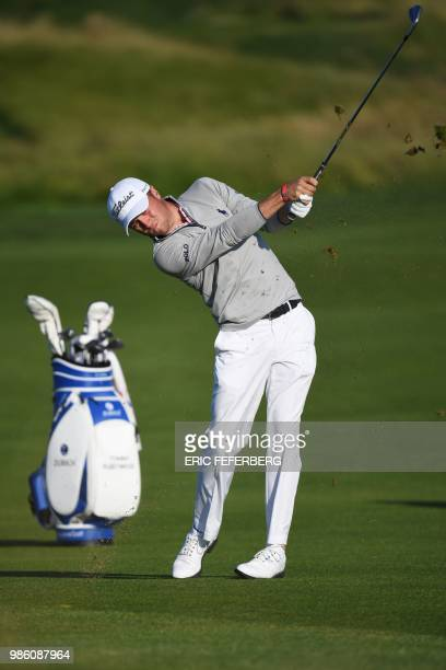 US golfer Justin Thomas competes in the HNA Open de France as part of the European Tour 2018 in Guyancourt on June 28 2018