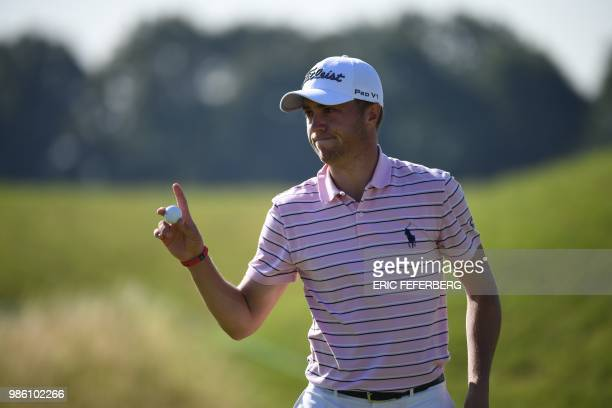 Golfer Justin Thomas competes in the HNA Open de France, as part of the European Tour 2018, at the Saint-Quentin-en-Yvelines national golf course in...