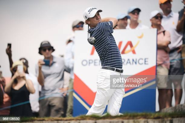 US golfer Justin Thomas competes in the HNA Open de France as part of the European Tour 2018 at the SaintQuentinenYvelines national golf course in...